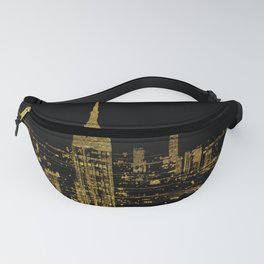 Abstract Gold City  Skyline Design Fanny Pack