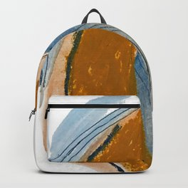 Gentle Breeze: a minimal, abstract mixed-media piece in blues and tans by Alyssa Hamilton Art Backpack