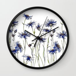 Blue Cornflowers, Illustration Wall Clock