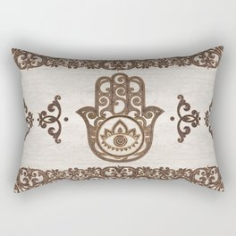 Hamsa Hand - Hand of Fatima  wooden texture Rectangular Pillow