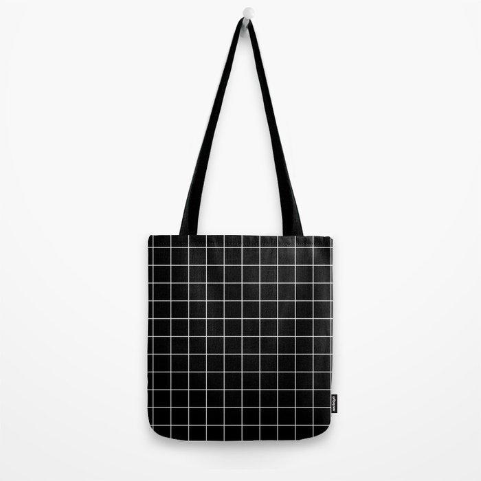 Grid Simple Line Black Minimalist Tote Bag
