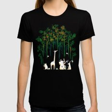 Re-paint the Forest Womens Fitted Tee MEDIUM Black