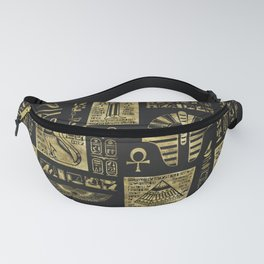 Egyptian  hieroglyphs and symbols gold on black leather Fanny Pack