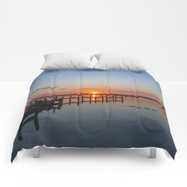 Sunset In Chincoteague Island Comforters