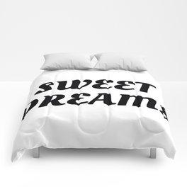 Sweet Dreams in Cursive in Black Comforters