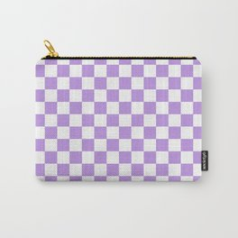 Small Checkered - White and Light Violet Carry-All Pouch