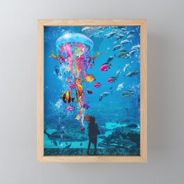 Electric Jellyfish in a Aquarium Framed Mini Art Print