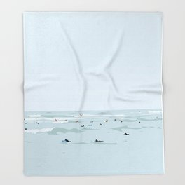 Lima, Peru, Playa Waikiki, Miraflores Travel Poster Throw Blanket