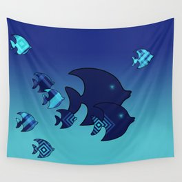 Nine Blue Fish with Patterns Wall Tapestry