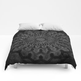 Dark Geometric mandala pattern Comforters
