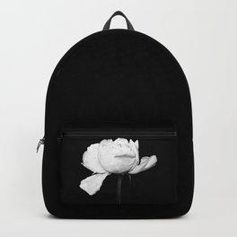 White Peony Black Background Backpack