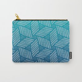 Japanese style wood carving pattern in blue Carry-All Pouch