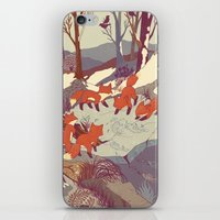 blue iPhone & iPod Skins featuring Fisher Fox by Teagan White