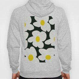White Retro Flowers Black Background #decor #society6 #buyart Hoody