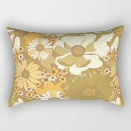 Brown, Orange, Ivory & Green Vintage Flower Pattern Rectangular Pillow