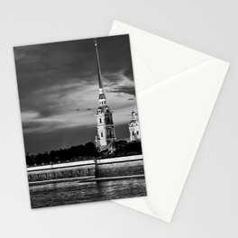 Peter And Paul Fortress at night, downtown, center of St. Petersburg, summer day, dramatic sky, clouds, river embankment, black and white (St. Petersburg, Russia) (2012-7SPBBW2) Stationery Cards