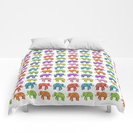 Colorful Parade of Elephants in Red, Orange, Yellow, Green, Blue, Purple and Pink Comforters