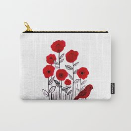 Tall poppies and red bird Carry-All Pouch
