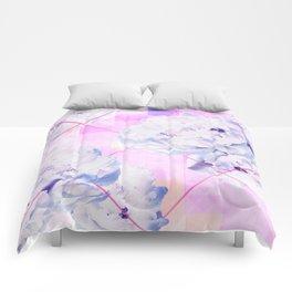 Geometric Hot Pink Peonies Flowers Design Comforters