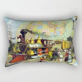 Vintage Transcontinental Railroad Rectangular Pillow