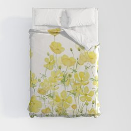 yellow buttercup flowers filed watercolor  Duvet Cover
