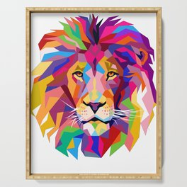 Elegant, Cool Lion Head Design Art with Bright Colorful Serving Tray