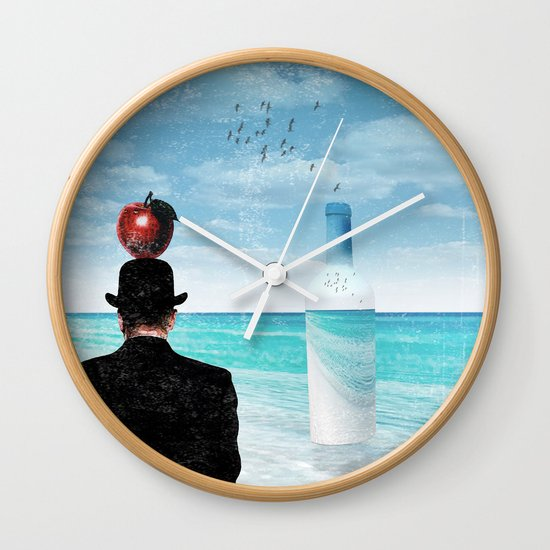 René at the beach Wall Clock