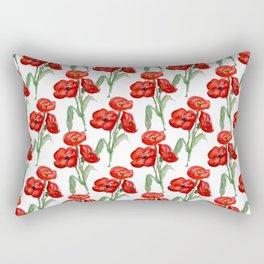 Watercolor Red Poppies Rectangular Pillow