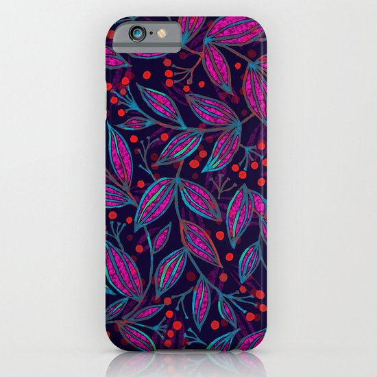 RED BERRIES PINK LEAVES iPhone & iPod Case