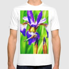 Dragonfly on purple English iris MEDIUM Mens Fitted Tee White