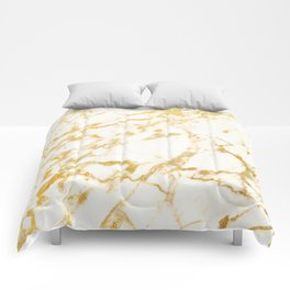 Ivory White Marble With Gold Glitter Ribboned Veins Comforters