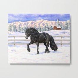 Friesian Horse Trotting In Snow Metal Print