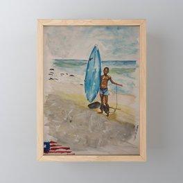 Surfing Boy in Liberia Framed Mini Art Print