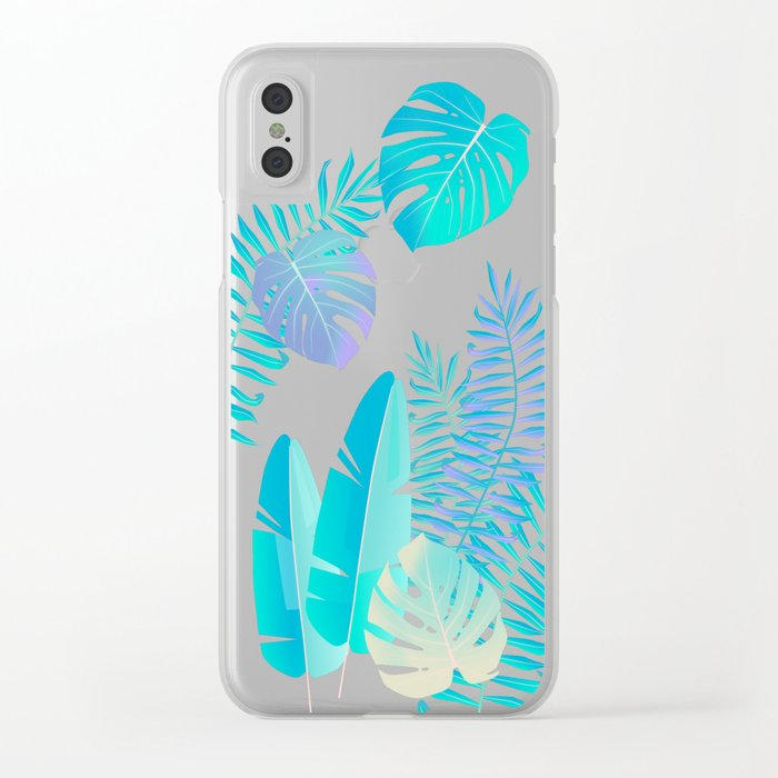 Tropics ( monstera and banana leaf pattern ) Clear iPhone Case