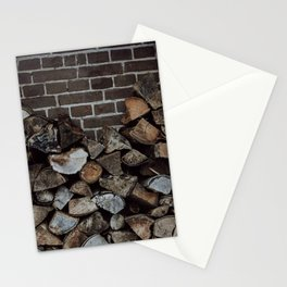 Wood ready for the fireplace, horizontal | Cozy winter travel photography fine art print Stationery Cards