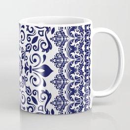 Oriental Damask blue on white Coffee Mug