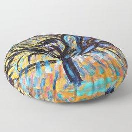 Apple Tree, Pointillist Version - Piet Mondrian Floor Pillow