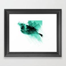 Splatter Bird Blue Framed Art Print