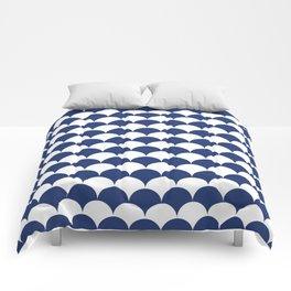 Navy Fan Shell Pattern Comforters