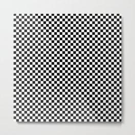 Black and White Checkers Metal Print