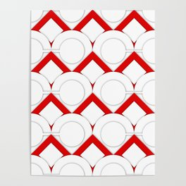 White Circles And Red Squares Abstract Geometric Pattern Poster