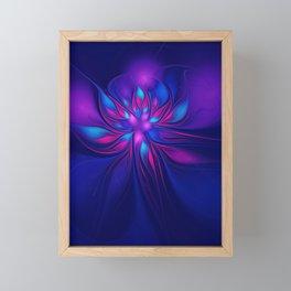 Pink Blue Fantastic Flower   Aqua, purple flowers Framed Mini Art Print