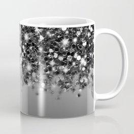 Black & Gunmetal Gray Silver Glitter Ombre Coffee Mug