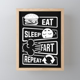 Eat Sleep Fart Repeat | Farting Flatulence Smell Framed Mini Art Print