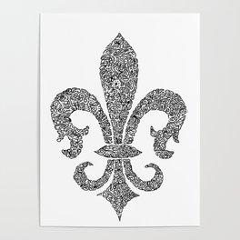 fleur de lis doodle abstract shapes Poster