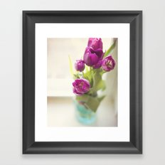 Purple Tulips in a jar Framed Art Print