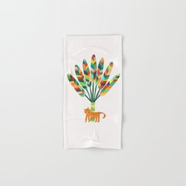 Whimsical travelers palm with tiger Hand & Bath Towel