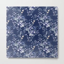 Chinoiserie Flowers Blue on Blue Metal Print