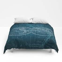 Antique Navigation World Map in Turquoise and White Comforters