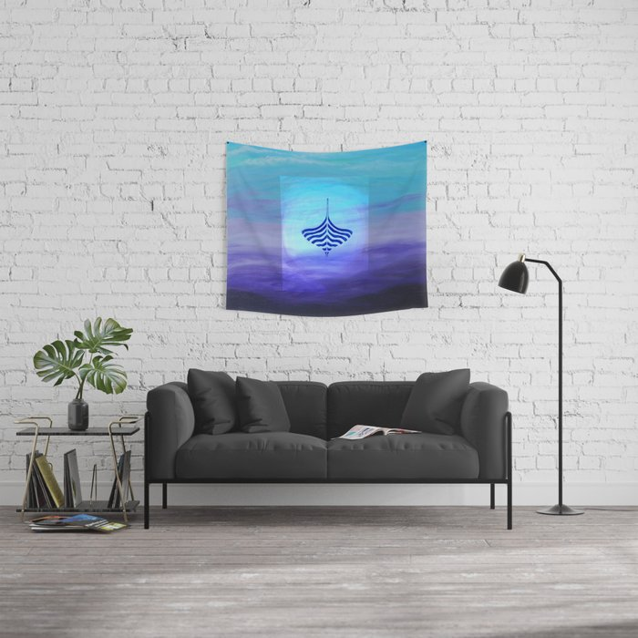 Blue Viking Boat Wall Tapestry